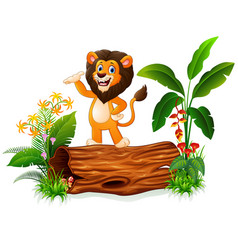 Cartoon lion presenting on tree trunk vector