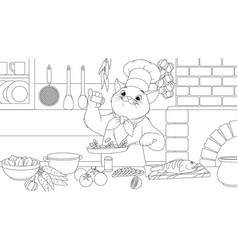 cat chef prepares a delicious vector image