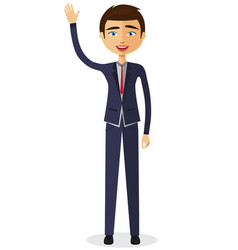 cheerful young businessman waving her hand vector image