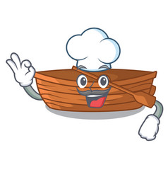 Chef wooden boats isolated with the cartoons vector