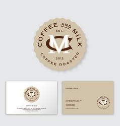 Coffee milk logo cafe emblem c and m monogram vector