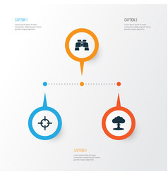Combat icons set collection of atom glass vector