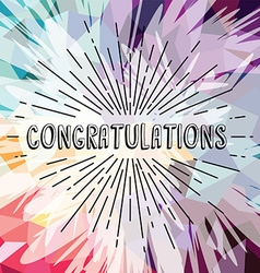 Congratulations greetings sunrays retro theme vector