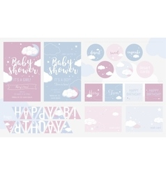 Cute invitation cards for baby shower and birthday vector