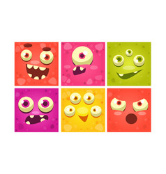 cute monster faces set funny colorful square vector image