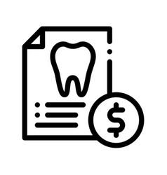 Dentist stomatology list thin line icon vector