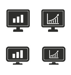 diagram screen icon set vector image