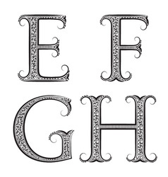 E F G H vintage patterned letters Font in floral vector