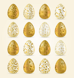 Easter egg set realistic golden and light eggs vector