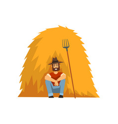Farmer resting sitting by the haystack vector