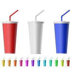 Fast food cup with straw vector