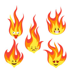 Fire character icons hot flame cute emoji with vector