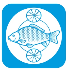 Fish on a plate with lemons vector