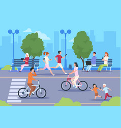 Flat city people street town park nature vector