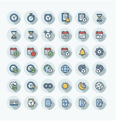 flat color thin line icons set with date vector image