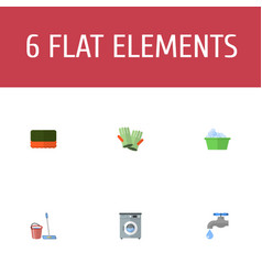 Flat icons mopping wisp faucet and other vector