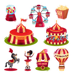 flat set of circus icons carousels circus vector image