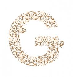 Floral letter g ornament font vector
