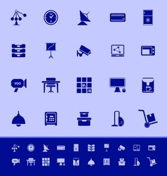 General office color icons on blue background vector