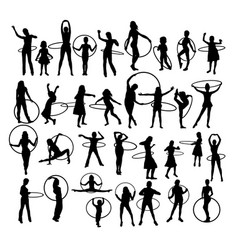 Girl with hula hoop silhouettes vector