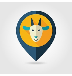 Goat flat pin map icon Animal head vector