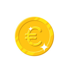 gold euro coin cartoon style isolated vector image