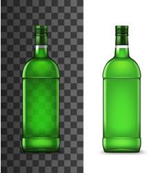 Green glass bottles alcohol drink vector