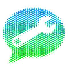 Halftone blue-green service message icon vector