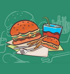 Hamburger scene vector
