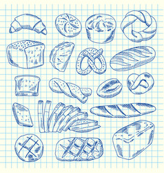 hand drawn contoured bakery elements vector image