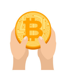 Hand is full bitcoin profit crypto currency gain vector