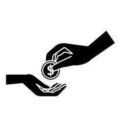 Hands holding coins icon simple style vector image