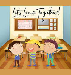 Happy children learn in classroom vector