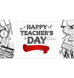Happy teacher day with big red ribbon and school vector