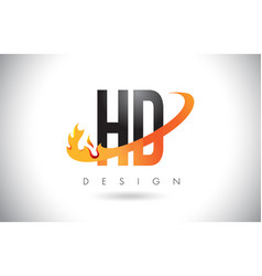 Hd h d letter logo with fire flames design and vector