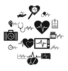 heart pulse beat icons set simple style vector image