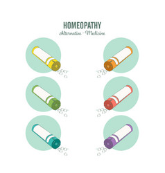homeopathic medicine line set on a white vector image