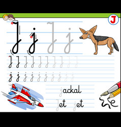How to write letter j workbook for children vector
