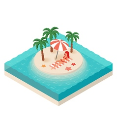 isometric of young woman Tropical island in the vector image