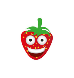 kawaii fruits strawberry happy icon vector image