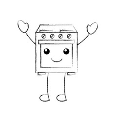 kawaii oven appliance home character vector image