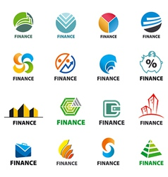 large collection of of logos Finance vector image