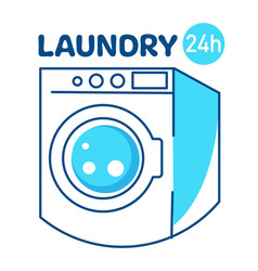 Laundry service 24h washing and cleaning clothes vector