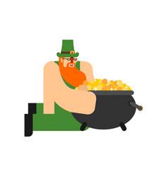 Leprechaun and pot gold st patricks day vector