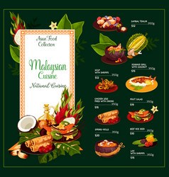 malaysian cuisine traditional dishes menu vector image