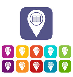 map pointer with book icons set flat vector image vector image