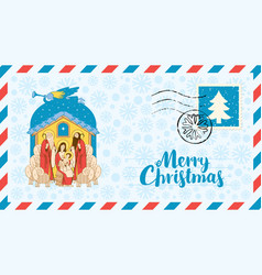 Mary and jesus adoration of the magi envelope vector