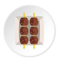 Meat shashlik icon circle vector