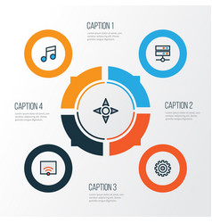 Media colorful outline icons set collection of vector