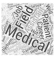 Medical field careers word cloud concept vector